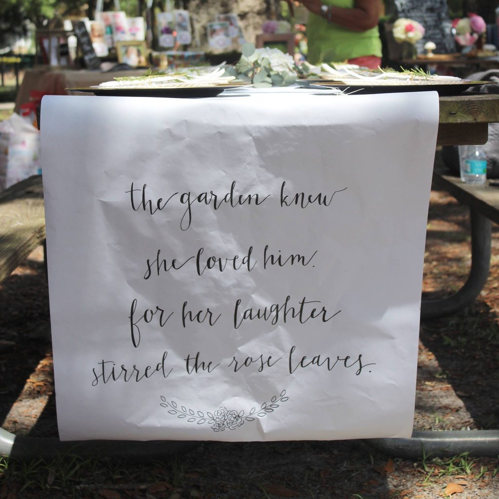 secret garden first birthday Table runner quote