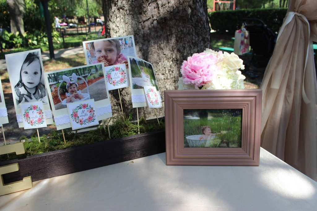 secret garden first birthday Picture table