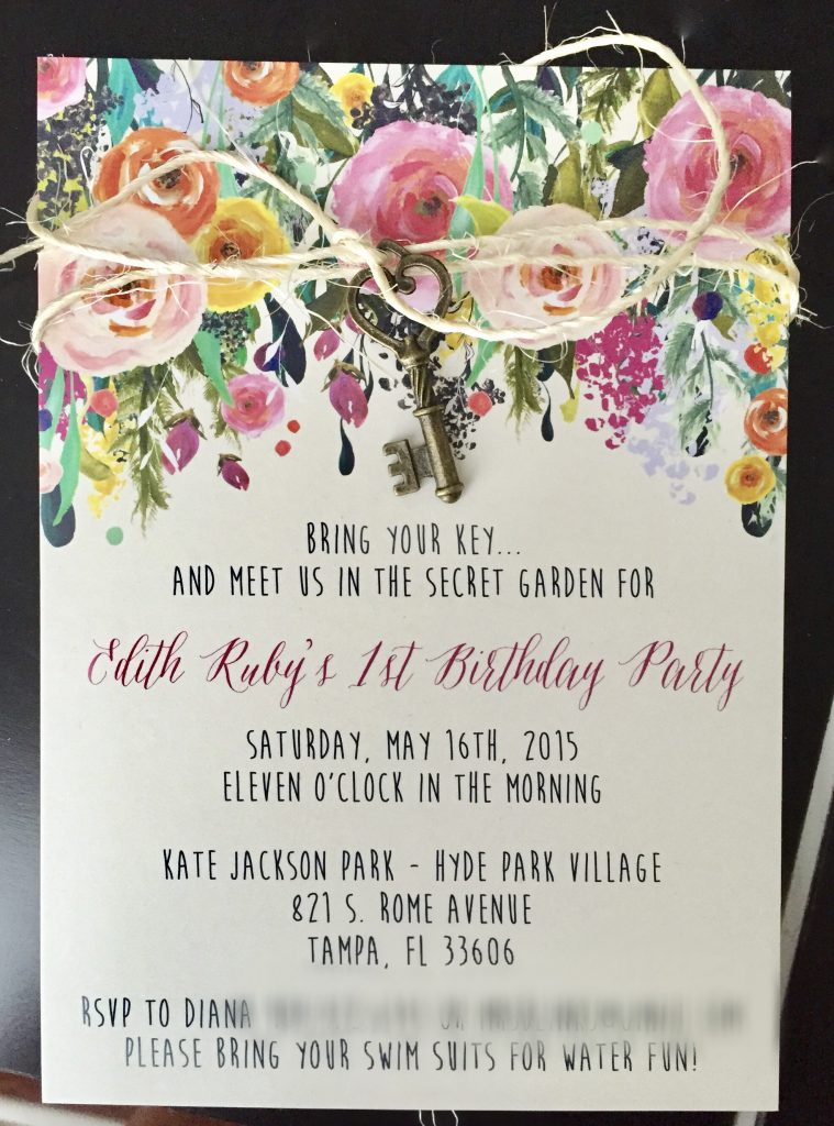 secret garden first birthday Invitation