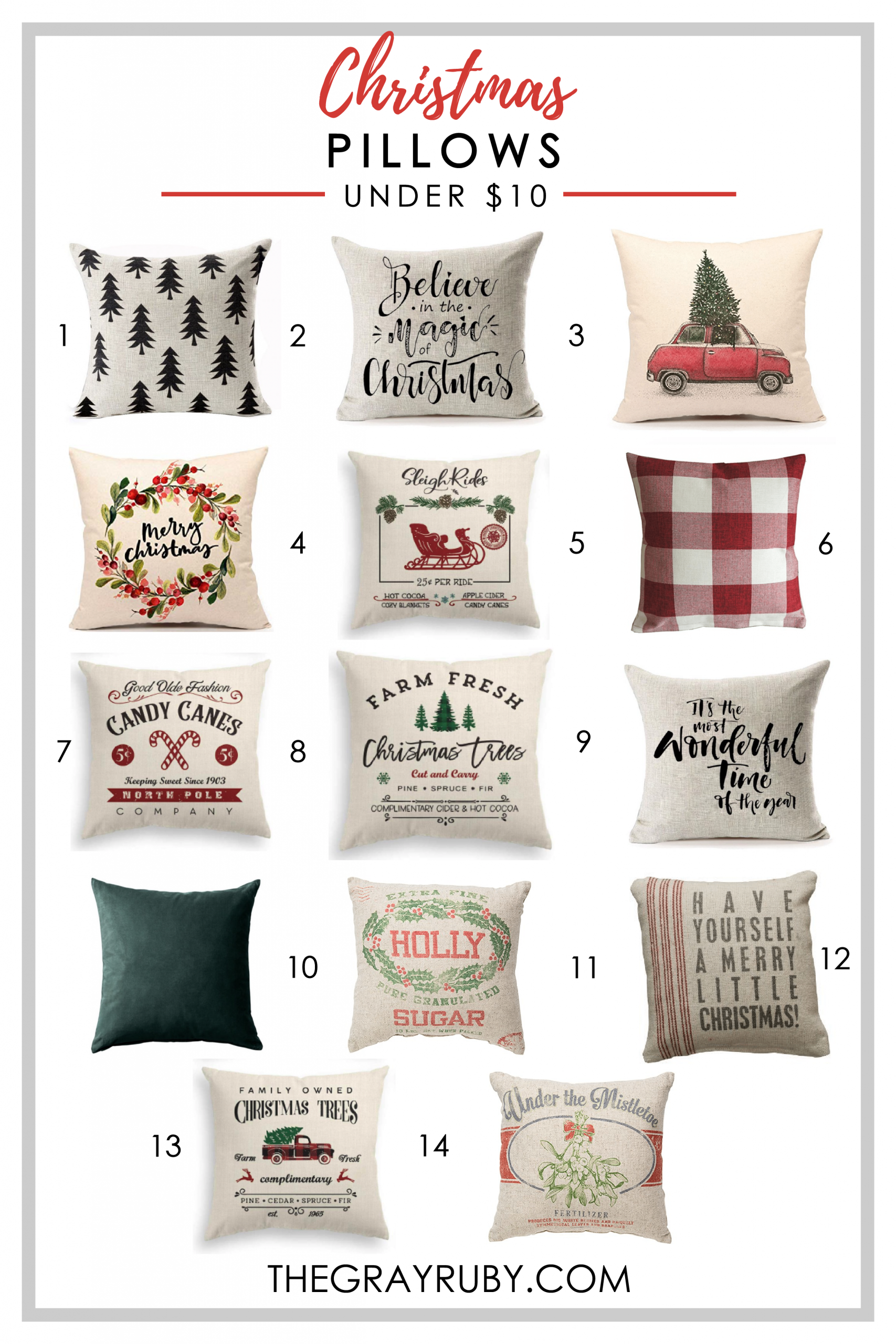 Christmas pillows - holiday pillows for under $10