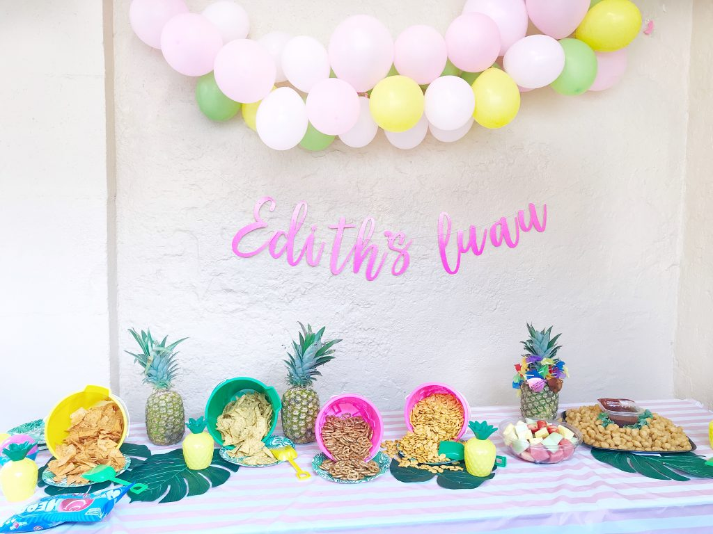 Balloons Balloon Pump Aloha Sign Edith Luau Leaf Garland Flamingo Cake Topper Pineapple