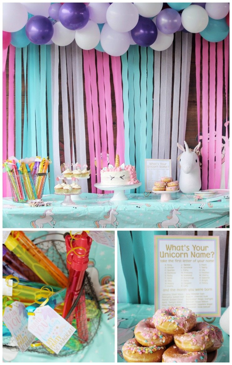 magical unicorn birthday party setup