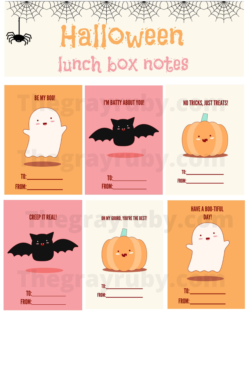 Free Halloween Lunch box notes printable