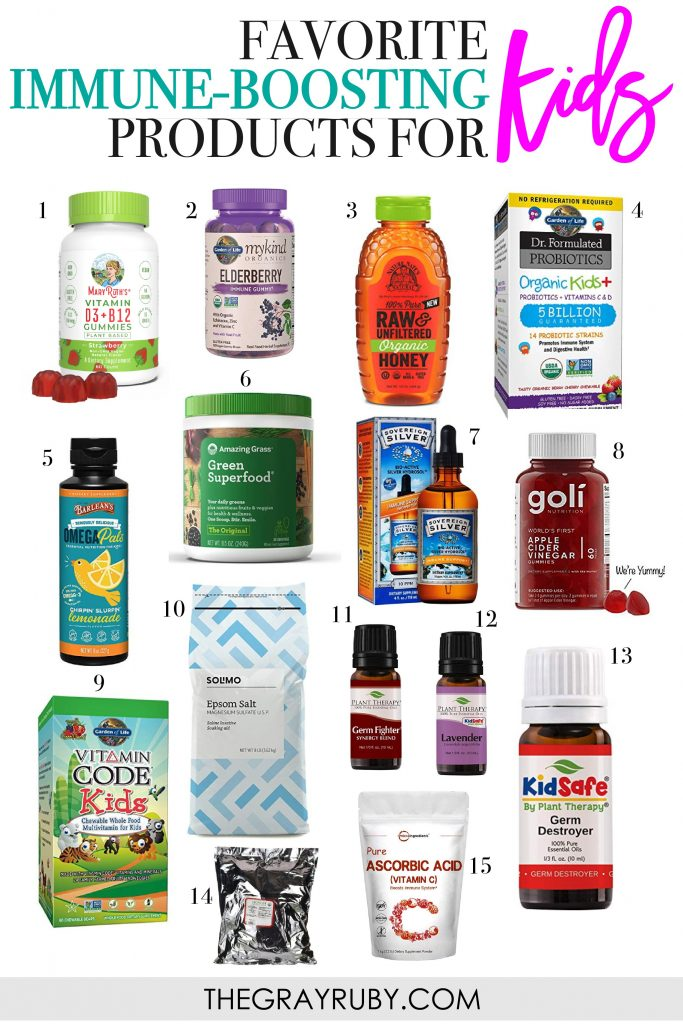 15 of our favorite immune boosting products for kids. We use them all at different times and different reasons, so read the post to find out how! During this time of year when germs are spreading, here is what we use to help keep our kids immune systems strong so we can avoid sickness.