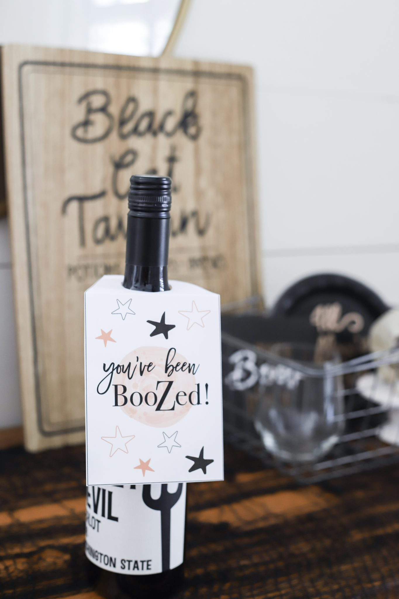 halloween wine tags - you've been booZed - halloween gift tags