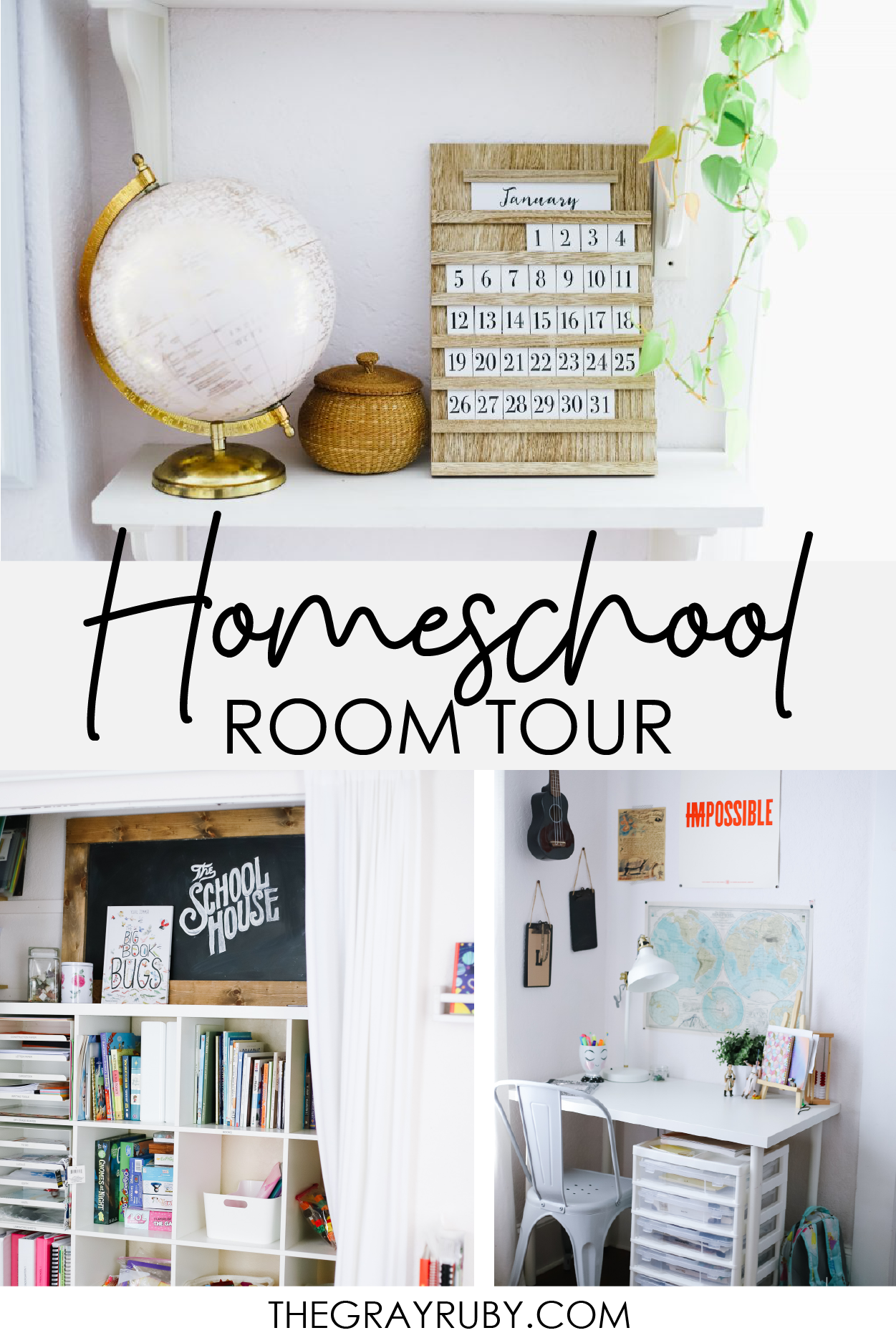 A simple homeschool room plus I share all my curriculum storage secrets