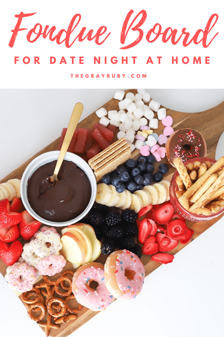 Chocolate fondue dessert board
