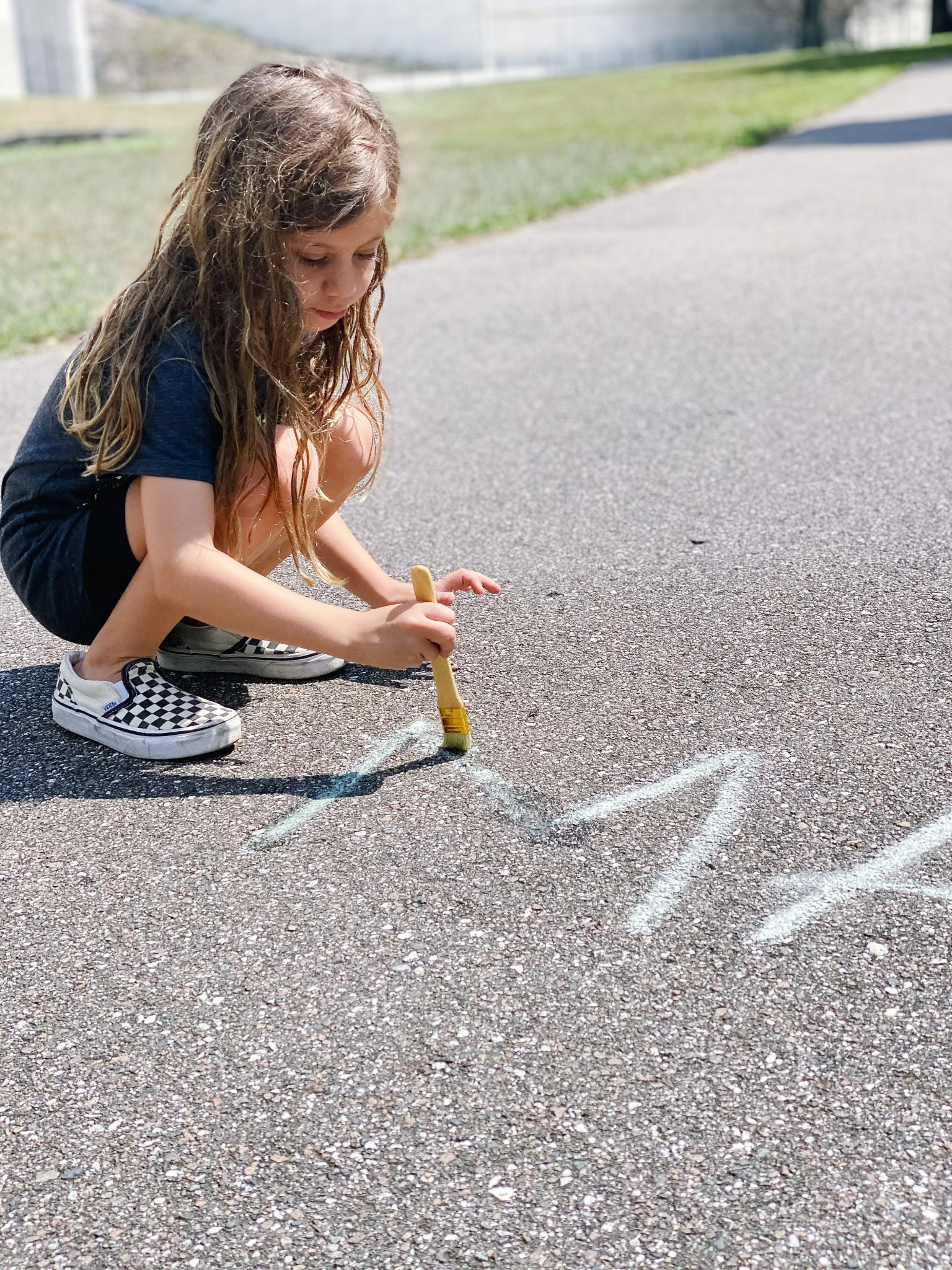 sight word tracing - learning with sidewalk chalk