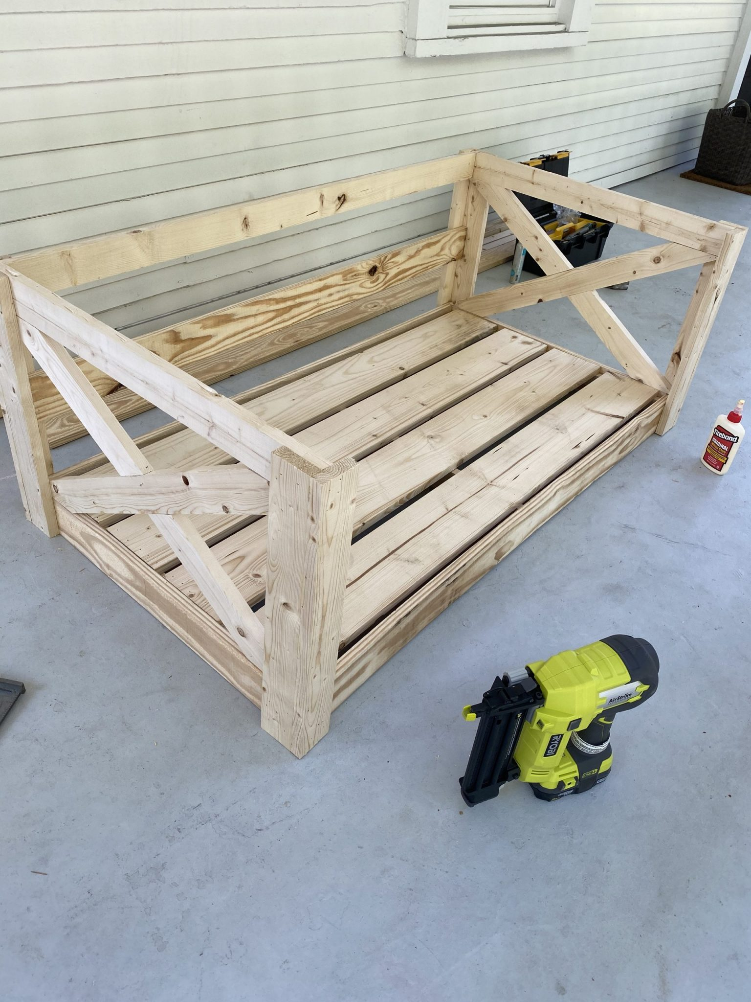 porch swing top back rail