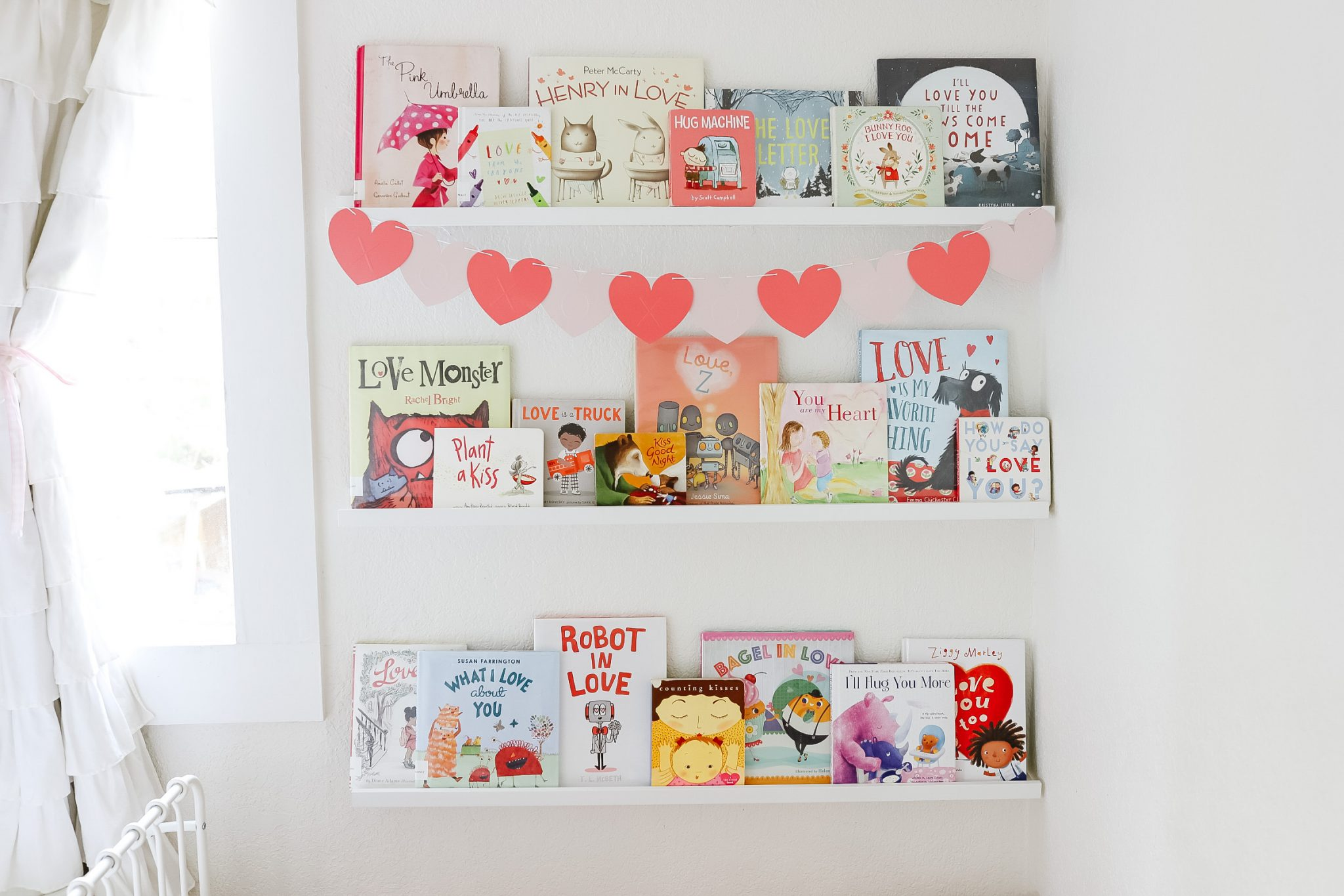 Kids Book Wall - Valentine Book Wall -Bookshelf