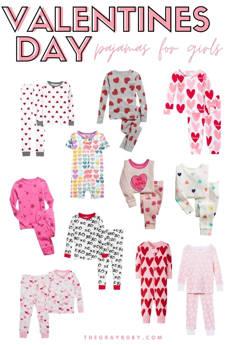 Valentine's Day PAJAMAS FOR GIRLS - heart pjs for toddlers - kids pjs